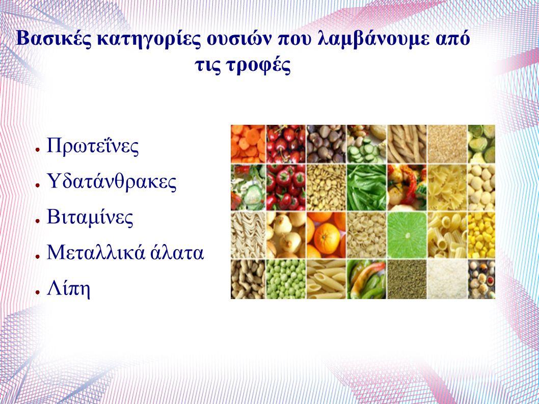 Βασικές κατηγορίες ουσιών που λαμβάνουμε από τις τροφές ● Πρωτεΐνες ● Υδατάνθρακες ● Βιταμίνες ● Μεταλλικά άλατα ● Λίπη