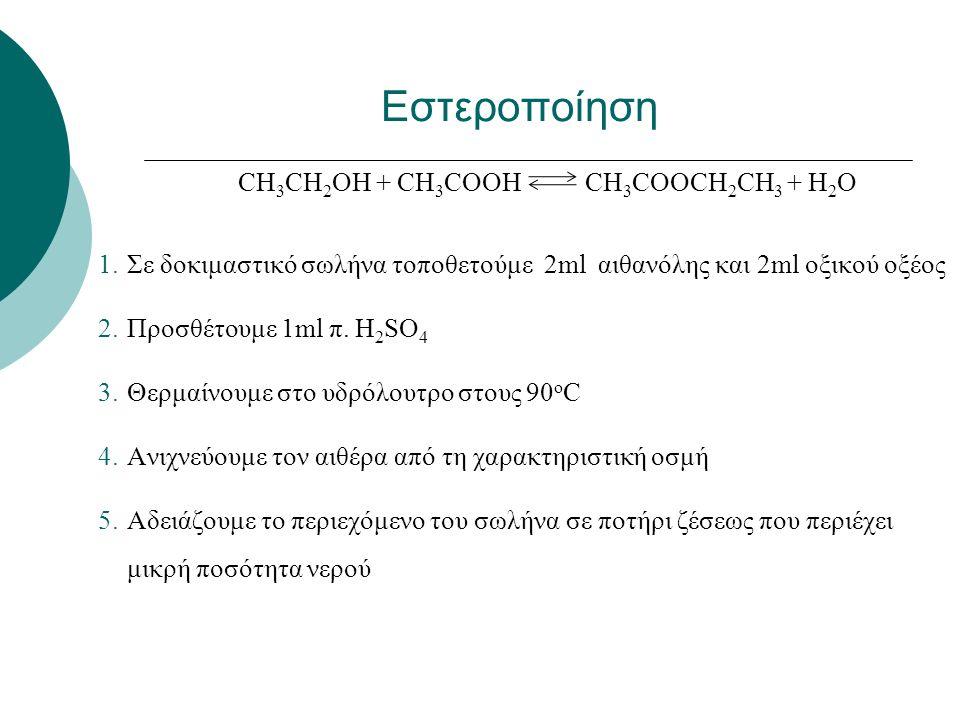 CH 3 CH 2 OH + CH 3 COOH CH 3 COOCH 2 CH 3 + H 2 O 1.Σε δοκιμαστικό σωλήνα τοποθετούμε 2ml αιθανόλης και 2ml οξικού οξέος 2.Προσθέτουμε 1ml π.