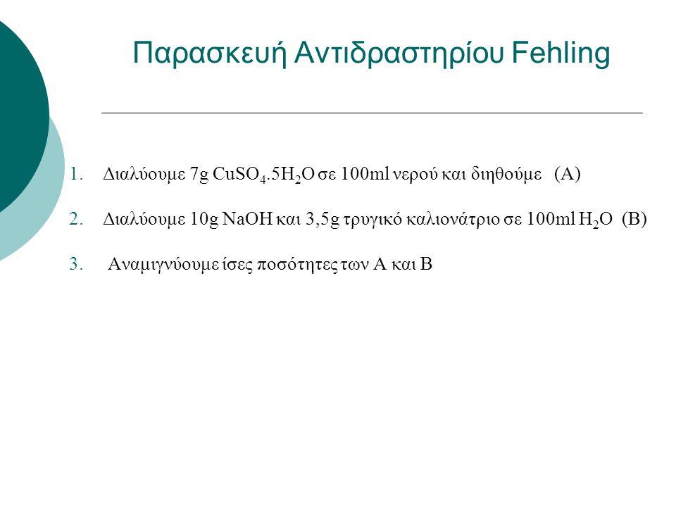 1.Διαλύουμε 7g CuSO 4.5H 2 O σε 100ml νερού και διηθούμε (Α) 2.Διαλύουμε 10g ΝaOH και 3,5g τρυγικό καλιονάτριο σε 100ml H 2 O (Β) 3.