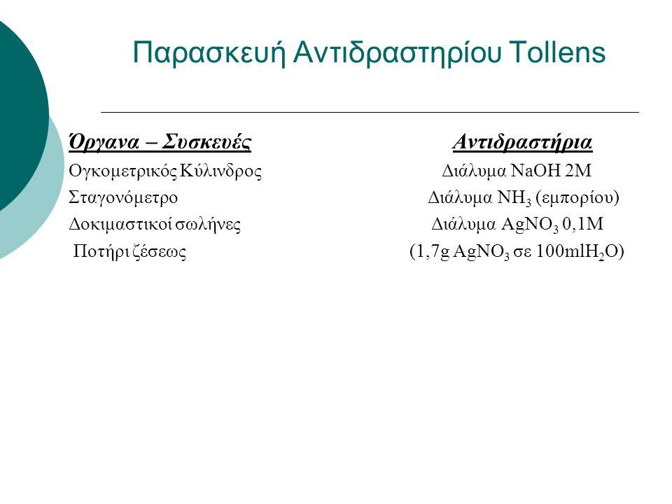 Παρασκευή Αντιδραστηρίου Tollens Όργανα – Συσκευές Αντιδραστήρια Ογκομετρικός Κύλινδρος Διάλυμα NaOH 2M Σταγονόμετρο Διάλυμα NH 3 (εμπορίου) Δοκιμαστικοί σωλήνες Διάλυμα AgNO 3 0,1M Ποτήρι ζέσεως (1,7g AgNO 3 σε 100mlΗ 2 Ο)