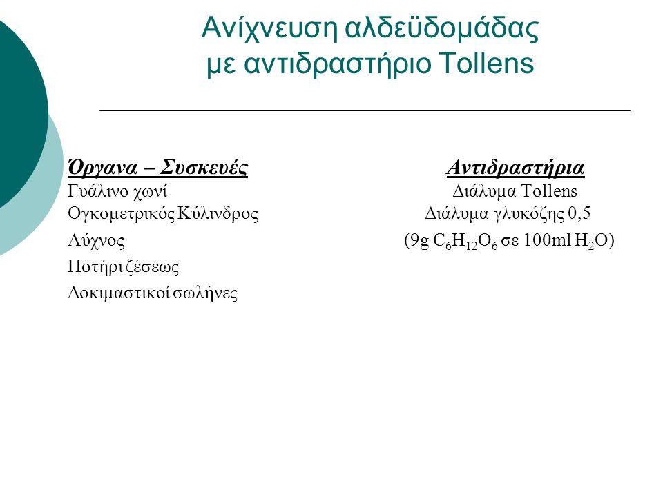 1.Σε δοκιμαστικό σωλήνα εισάγουμε 2ml αντιδραστηρίου Tollens 2.Προσθέτουμε 2ml διαλύματος Γλυκόζης 0,5Μ 3.Θερμαίνουμε στο υδρόλουτρο Ανίχνευση αλδεϋδομάδας με αντιδραστήριο Tollens