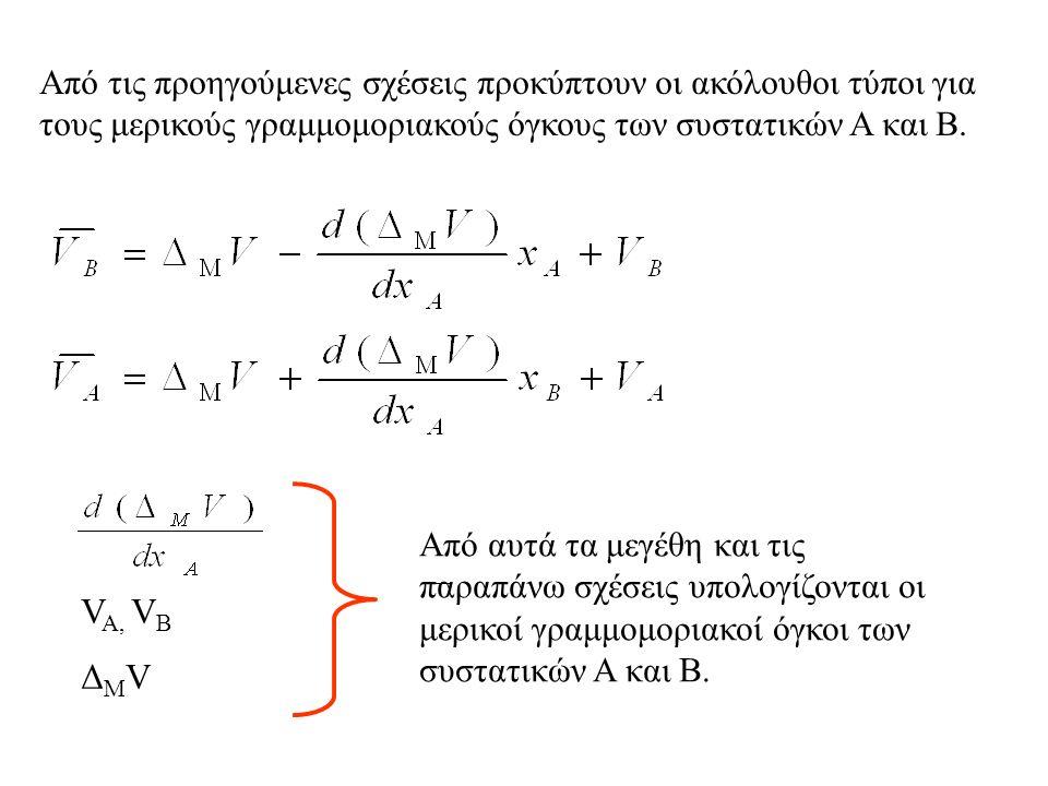 Από τις προηγούμενες σχέσεις προκύπτουν οι ακόλουθοι τύποι για τους μερικούς γραμμομοριακούς όγκους των συστατικών Α και Β.
