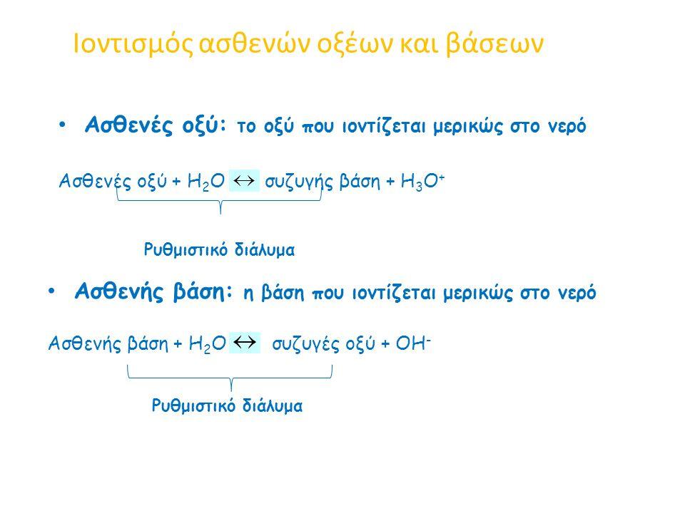 Ιοντισμός ασθενών οξέων και βάσεων Ασθενές οξύ: το οξύ που ιοντίζεται μερικώς στο νερό Ασθενές οξύ + Η 2 Ο συζυγής βάση + Η 3 Ο + Ασθενής βάση: η βάση που ιοντίζεται μερικώς στο νερό Ασθενής βάση + Η 2 Ο συζυγές οξύ + ΟΗ - Ρυθμιστικό διάλυμα