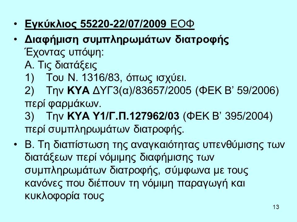 13 Εγκύκλιος 55220-22/07/2009 ΕΟΦ Διαφήμιση συμπληρωμάτων διατροφής Έχοντας υπόψη: Α.