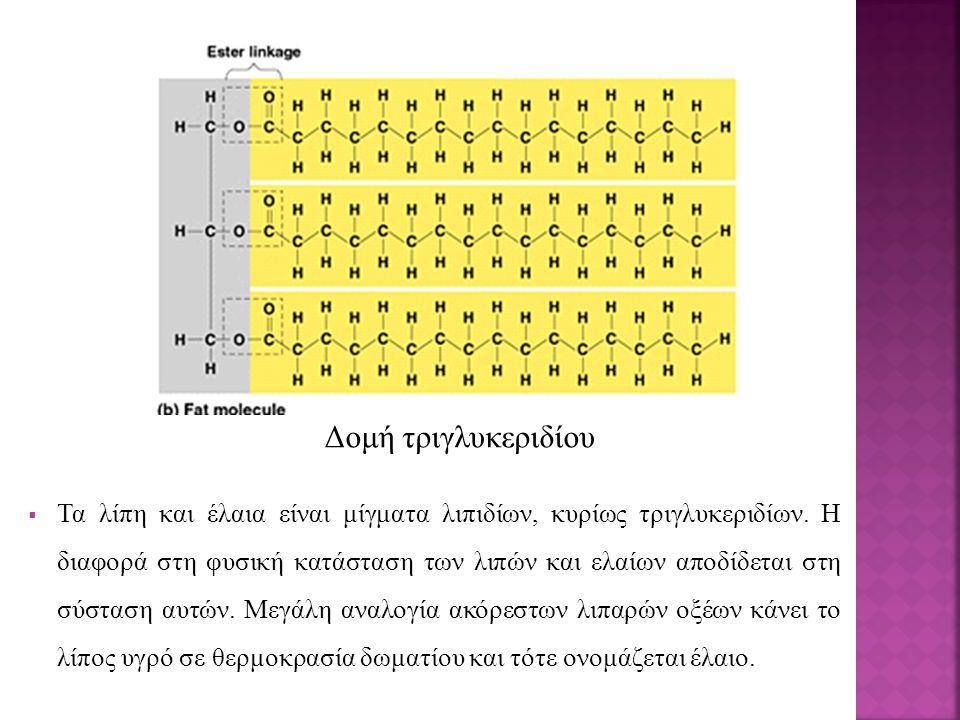 Δομή τριγλυκεριδίου  Τα λίπη και έλαια είναι μίγματα λιπιδίων, κυρίως τριγλυκεριδίων. Η διαφορά στη φυσική κατάσταση των λιπών και ελαίων αποδίδεται