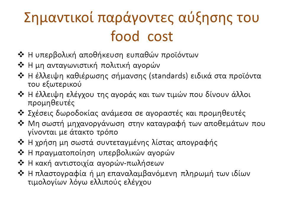 Σημαντικοί παράγοντες αύξησης του food cost  Η υπερβολική αποθήκευση ευπαθών προϊόντων  Η μη ανταγωνιστική πολιτική αγορών  Η έλλειψη καθιέρωσης σήμανσης (standards) ειδικά στα προϊόντα του εξωτερικού  Η έλλειψη ελέγχου της αγοράς και των τιμών που δίνουν άλλοι προμηθευτές  Σχέσεις δωροδοκίας ανάμεσα σε αγοραστές και προμηθευτές  Μη σωστή μηχανοργάνωση στην καταγραφή των αποθεμάτων που γίνονται με άτακτο τρόπο  Η χρήση μη σωστά συντεταγμένης λίστας απογραφής  Η πραγματοποίηση υπερβολικών αγορών  Η κακή αντιστοιχία αγορών-πωλήσεων  Η πλαστογραφία ή μη επαναλαμβανόμενη πληρωμή των ιδίων τιμολογίων λόγω ελλιπούς ελέγχου