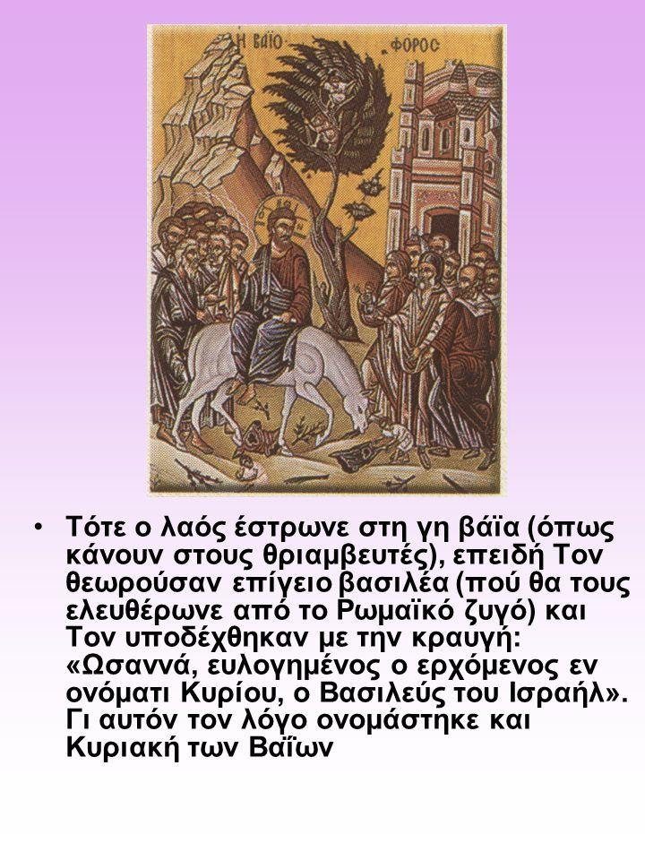 Τότε ο λαός έστρωνε στη γη βάϊα (όπως κάνουν στους θριαμβευτές), επειδή Τον θεωρούσαν επίγειο βασιλέα (πού θα τους ελευθέρωνε από το Ρωμαϊκό ζυγό) και Τον υποδέχθηκαν με την κραυγή: «Ωσαννά, ευλογημένος ο ερχόμενος εν ονόματι Κυρίου, ο Βασιλεύς του Ισραήλ».