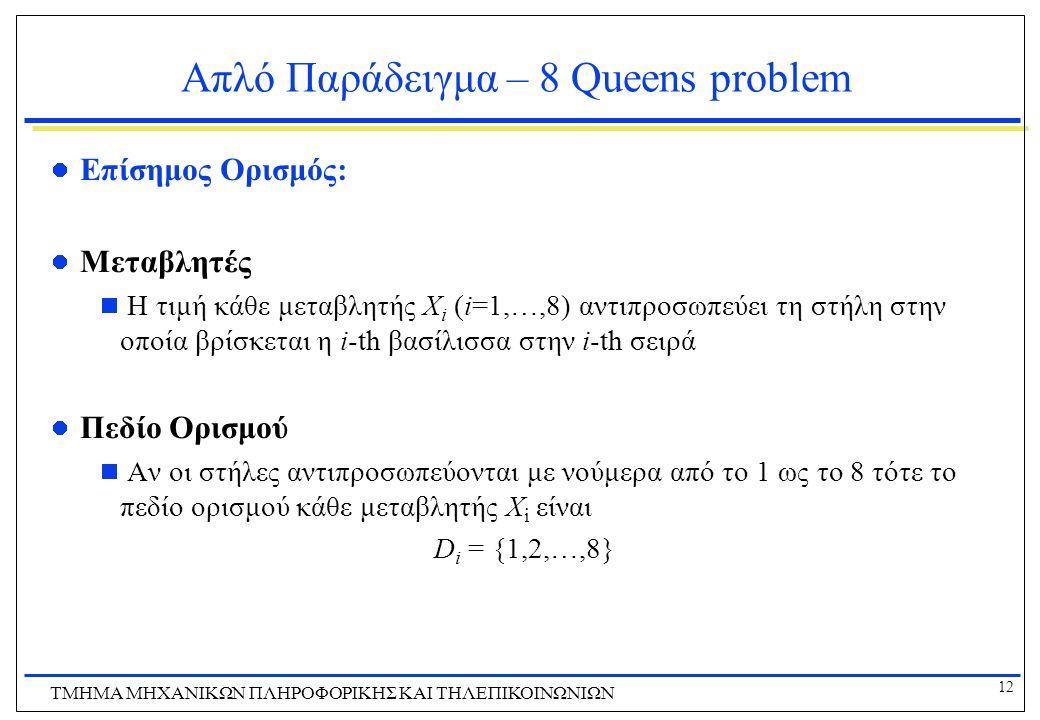 12 ΤΜΗΜΑ ΜHXANIKΩΝ ΠΛΗΡΟΦΟΡΙΚΗΣ ΚΑΙ ΤΗΛΕΠΙΚΟΙΝΩΝΙΩΝ Απλό Παράδειγμα – 8 Queens problem Επίσημος Ορισμός: Μεταβλητές  Η τιμή κάθε μεταβλητής X i (i=1,