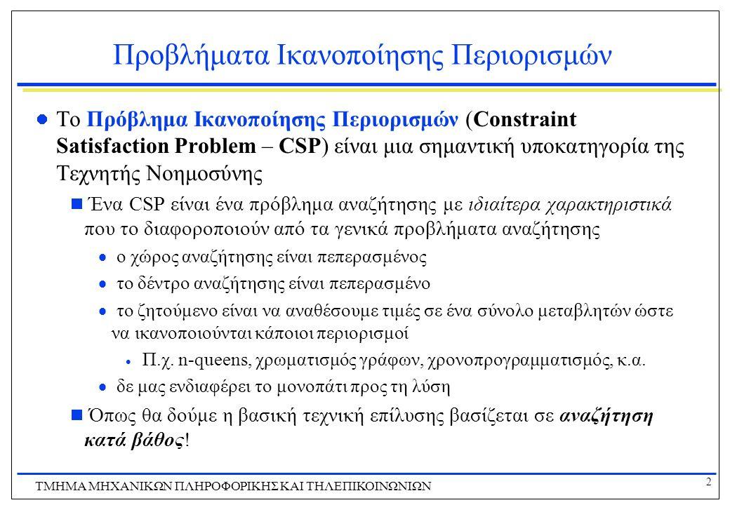 2 ΤΜΗΜΑ ΜHXANIKΩΝ ΠΛΗΡΟΦΟΡΙΚΗΣ ΚΑΙ ΤΗΛΕΠΙΚΟΙΝΩΝΙΩΝ Προβλήματα Ικανοποίησης Περιορισμών Το Πρόβλημα Ικανοποίησης Περιορισμών (Constraint Satisfaction P