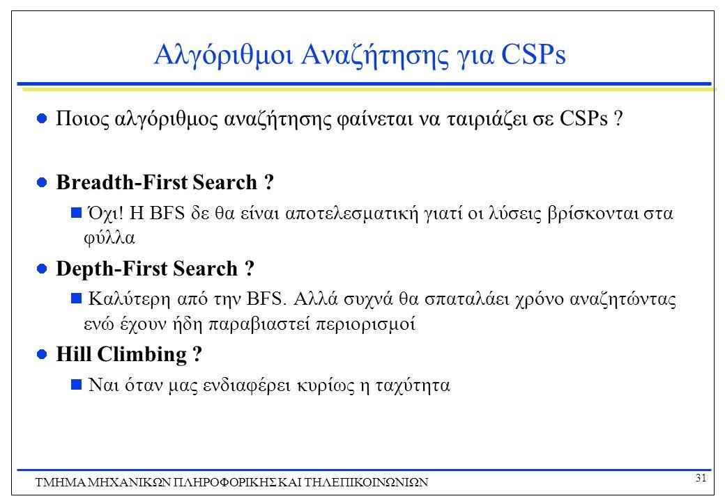 31 ΤΜΗΜΑ ΜHXANIKΩΝ ΠΛΗΡΟΦΟΡΙΚΗΣ ΚΑΙ ΤΗΛΕΠΙΚΟΙΝΩΝΙΩΝ Αλγόριθμοι Αναζήτησης για CSPs Ποιος αλγόριθμος αναζήτησης φαίνεται να ταιριάζει σε CSPs ? Breadth