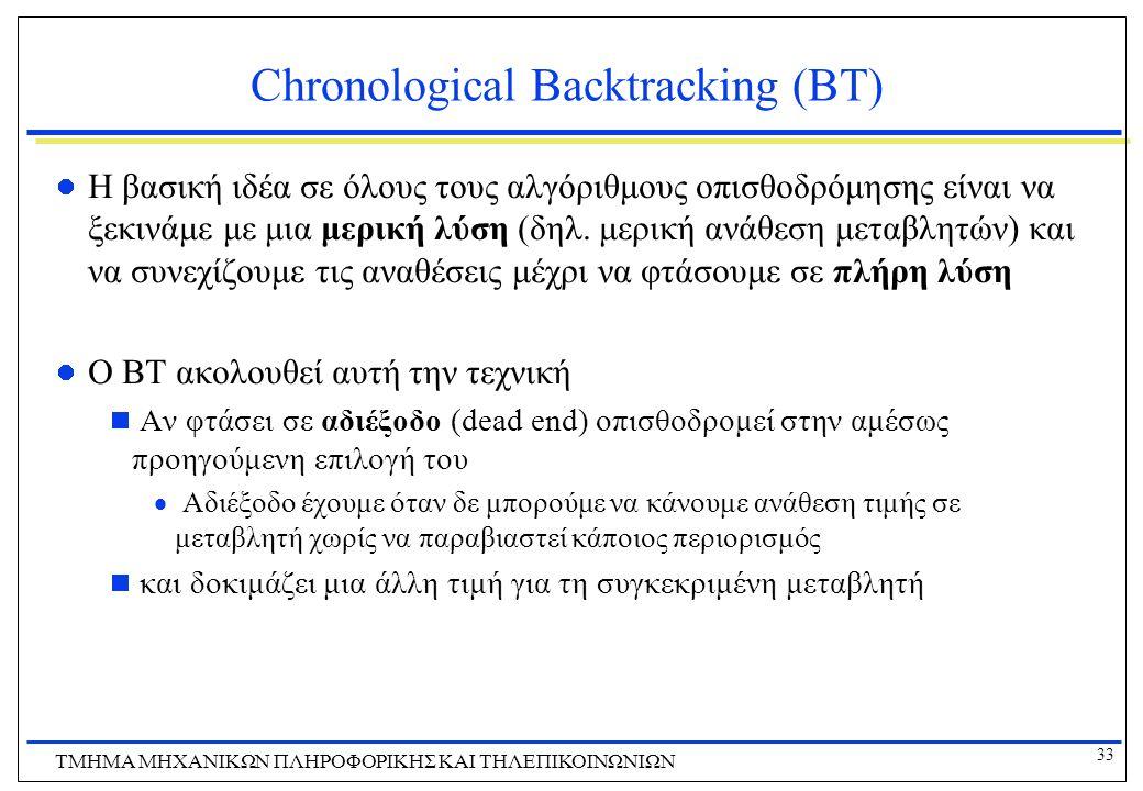 33 ΤΜΗΜΑ ΜHXANIKΩΝ ΠΛΗΡΟΦΟΡΙΚΗΣ ΚΑΙ ΤΗΛΕΠΙΚΟΙΝΩΝΙΩΝ Chronological Backtracking (ΒΤ) Η βασική ιδέα σε όλους τους αλγόριθμους οπισθοδρόμησης είναι να ξε