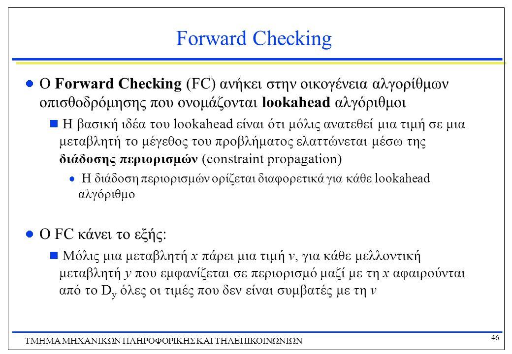 46 ΤΜΗΜΑ ΜHXANIKΩΝ ΠΛΗΡΟΦΟΡΙΚΗΣ ΚΑΙ ΤΗΛΕΠΙΚΟΙΝΩΝΙΩΝ Forward Checking O Forward Checking (FC) ανήκει στην οικογένεια αλγορίθμων οπισθοδρόμησης που ονομ