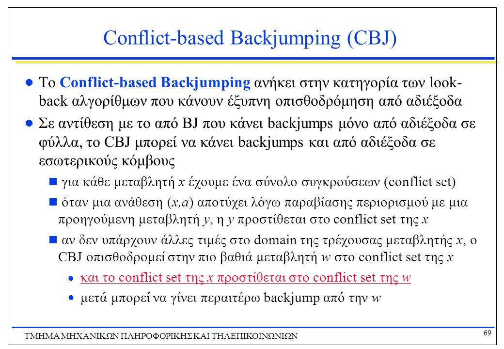 69 ΤΜΗΜΑ ΜHXANIKΩΝ ΠΛΗΡΟΦΟΡΙΚΗΣ ΚΑΙ ΤΗΛΕΠΙΚΟΙΝΩΝΙΩΝ Conflict-based Backjumping (CBJ) To Conflict-based Backjumping ανήκει στην κατηγορία των look- bac