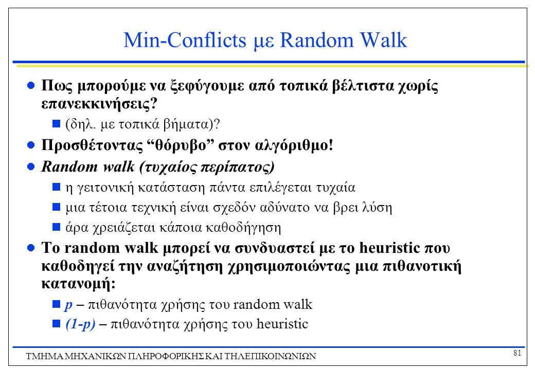 81 ΤΜΗΜΑ ΜHXANIKΩΝ ΠΛΗΡΟΦΟΡΙΚΗΣ ΚΑΙ ΤΗΛΕΠΙΚΟΙΝΩΝΙΩΝ Min-Conflicts με Random Walk Πως μπορούμε να ξεφύγουμε από τοπικά βέλτιστα χωρίς επανεκκινήσεις? 