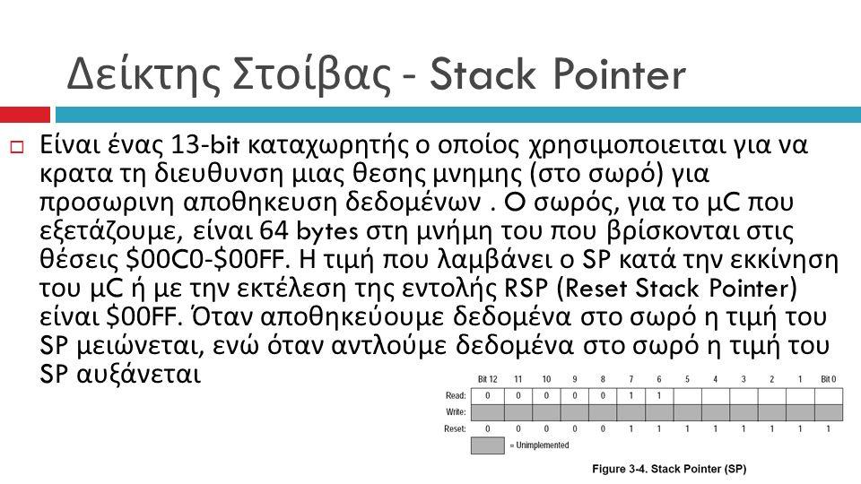 Δείκτης Στοίβας - Stack Pointer  Είναι ένας 13-bit καταχωρητής ο οποίος χρησιμοποιειται για να κρατα τη διευθυνση μιας θεσης μνημης ( στο σωρό ) για προσωρινη αποθηκευση δεδομένων.