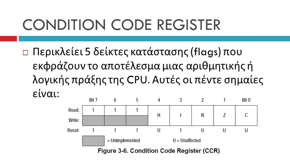 CONDITION CODE REGISTER  Περικλείει 5 δείκτες κατάστασης (flags) που εκφράζουν το αποτέλεσμα μιας αριθμητικής ή λογικής πράξης της CPU.