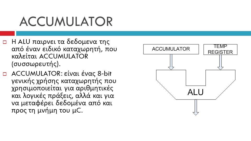ACCUMULATOR  Η ALU παιρνει τα δεδομενα της από έναν ειδικό καταχωρητή, που καλείται ACCUMULATOR ( συσσωρευτής ).
