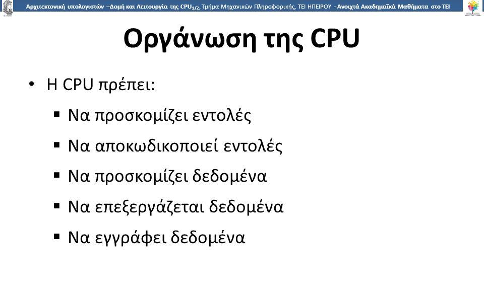 5 Αρχιτεκτονική υπολογιστών –Δομή και Λειτουργία της CPU 1/2, Τμήμα Μηχανικών Πληροφορικής, ΤΕΙ ΗΠΕΙΡΟΥ - Ανοιχτά Ακαδημαϊκά Μαθήματα στο ΤΕΙ Ηπείρου Οργάνωση της CPU Η CPU πρέπει:  Να προσκομίζει εντολές  Να αποκωδικοποιεί εντολές  Να προσκομίζει δεδομένα  Να επεξεργάζεται δεδομένα  Να εγγράφει δεδομένα