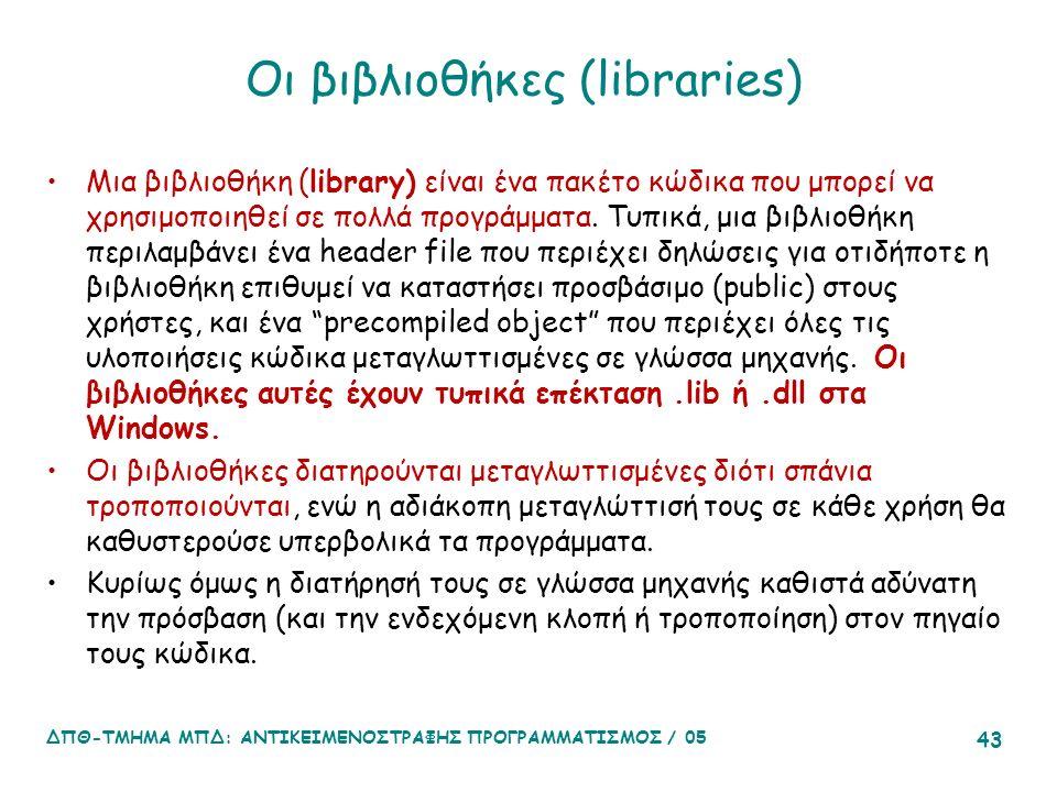 Οι βιβλιοθήκες (libraries) Μια βιβλιοθήκη (library) είναι ένα πακέτο κώδικα που μπορεί να χρησιμοποιηθεί σε πολλά προγράμματα.