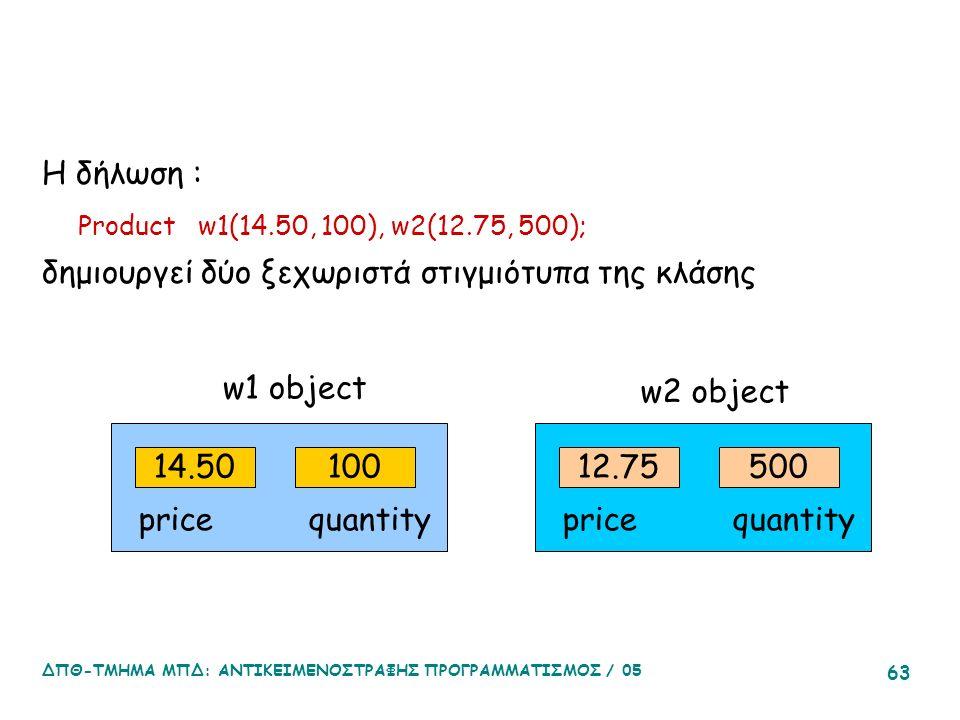 ΔΠΘ-ΤΜΗΜΑ ΜΠΔ: ΑΝΤΙΚΕΙΜΕΝΟΣΤΡΑΦΗΣ ΠΡΟΓΡΑΜΜΑΤΙΣΜΟΣ / 05 63 Η δήλωση : Product w1(14.50, 100), w2(12.75, 500); δημιουργεί δύο ξεχωριστά στιγμιότυπα της κλάσης 14.50100 price quantity 12.75500 price quantity w1 object w2 object