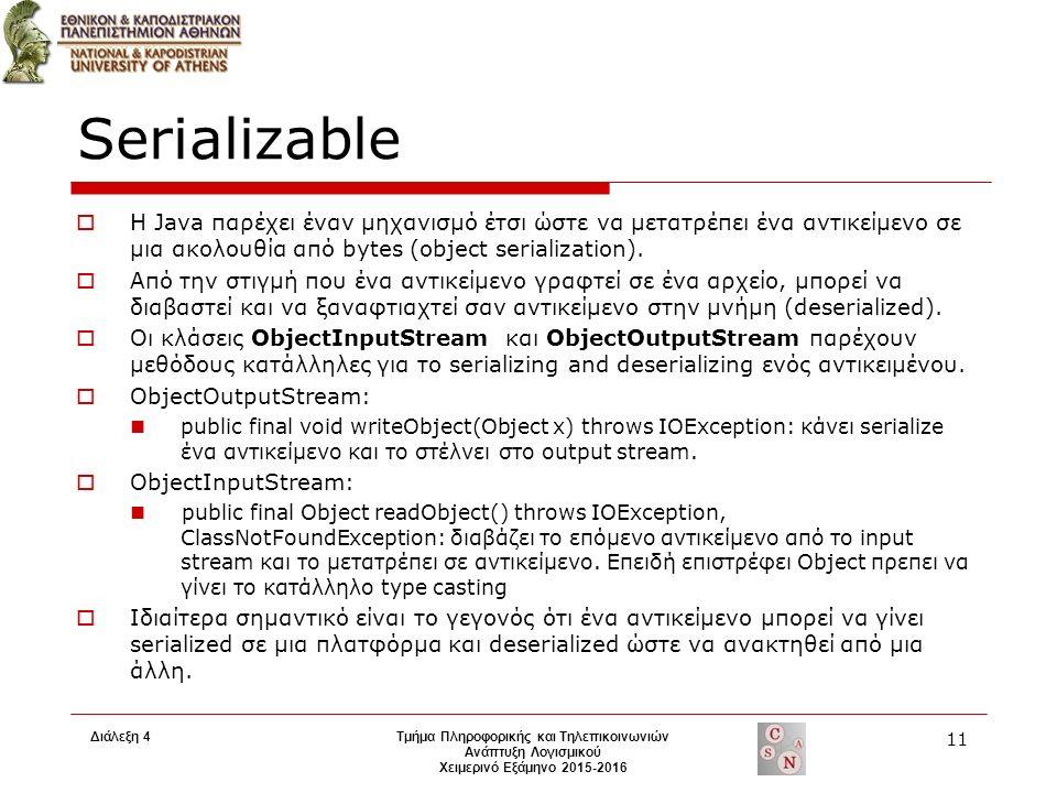 Serializable  H Java παρέχει έναν μηχανισμό έτσι ώστε να μετατρέπει ένα αντικείμενο σε μια ακολουθία από bytes (object serialization).