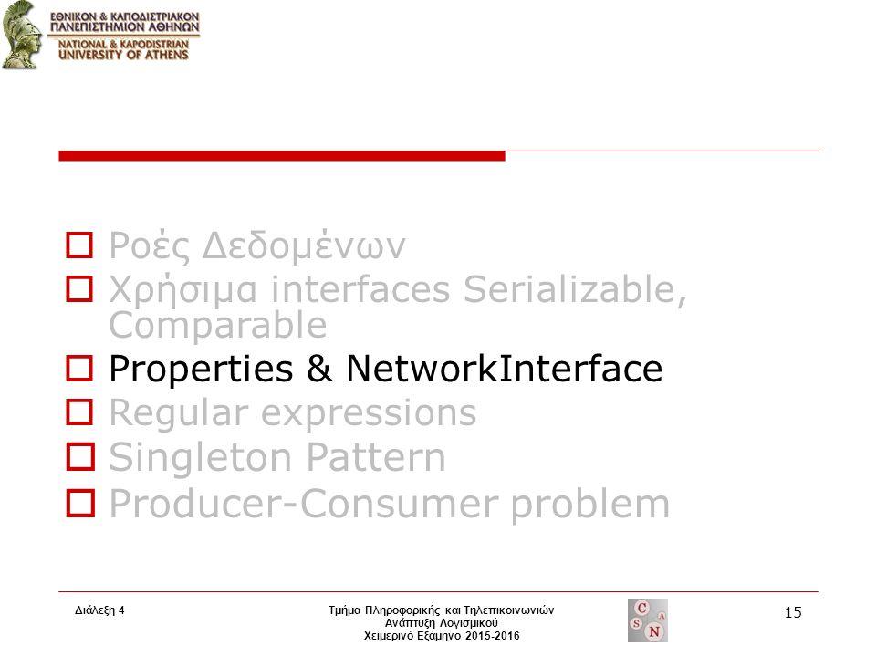 Τμήμα Πληροφορικής και Τηλεπικοινωνιών Ανάπτυξη Λογισμικού Χειμερινό Εξάμηνο 2015-2016 15 Διάλεξη 4  Ροές Δεδομένων  Χρήσιμα interfaces Serializable, Comparable  Properties & NetworkInterface  Regular expressions  Singleton Pattern  Producer-Consumer problem