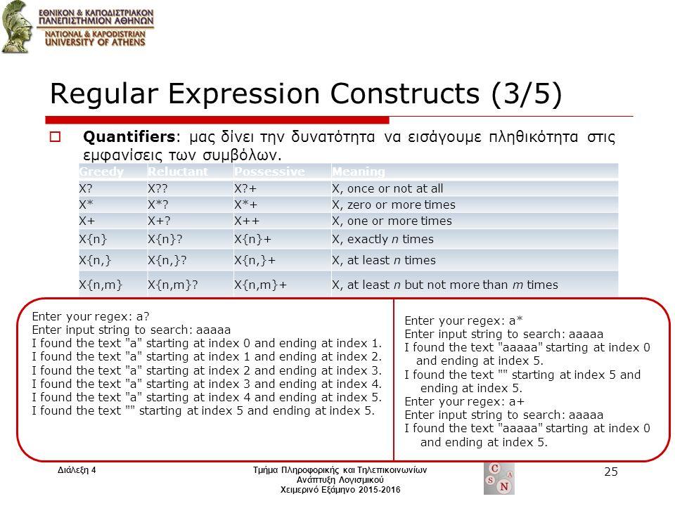 Regular Expression Constructs (3/5)  Quantifiers: μας δίνει την δυνατότητα να εισάγουμε πληθικότητα στις εμφανίσεις των συμβόλων.