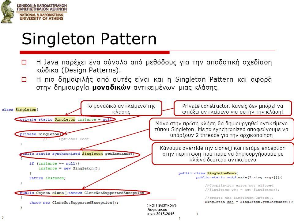 Singleton Pattern  H Java παρέχει ένα σύνολο από μεθόδους για την αποδοτική σχεδίαση κώδικα (Design Patterns).