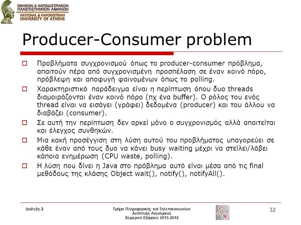 Producer-Consumer problem  Προβλήματα συγχρονισμού όπως το producer-consumer πρόβλημα, απαιτούν πέρα από συγχρονισμένη προσπέλαση σε έναν κοινό πόρο, πρόβλεψη και αποφυγή φαινομένων όπως το polling.