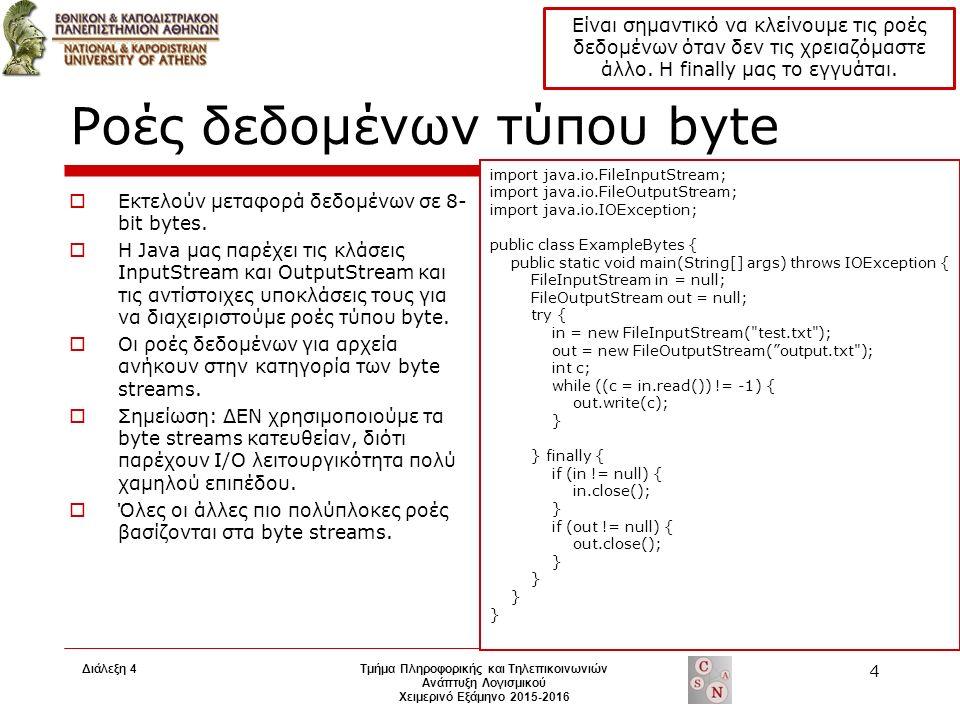 Ροές δεδομένων τύπου byte  Εκτελούν μεταφορά δεδομένων σε 8- bit bytes.
