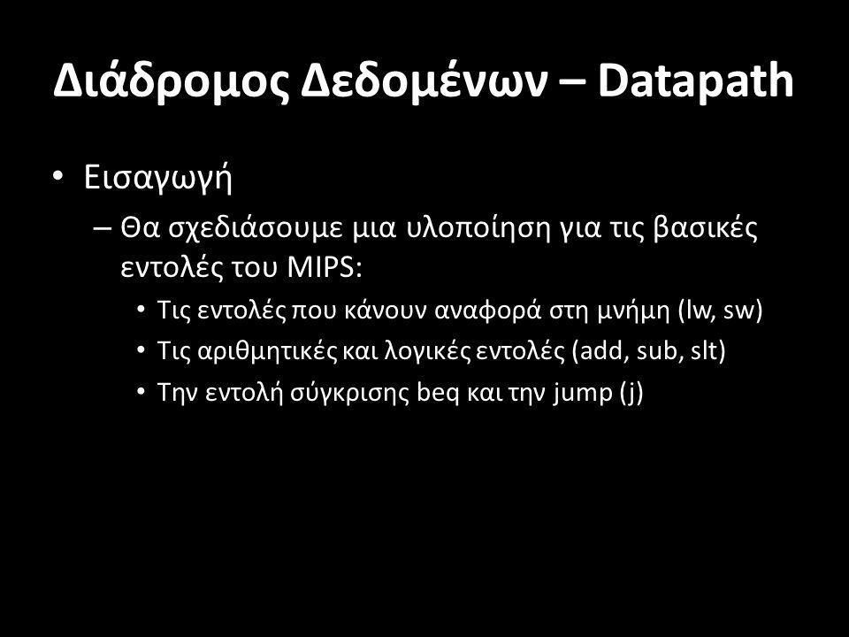 Διάδρομος Δεδομένων – Datapath Εισαγωγή – Θα σχεδιάσουμε μια υλοποίηση για τις βασικές εντολές του MIPS: Τις εντολές που κάνουν αναφορά στη μνήμη (lw, sw) Τις αριθμητικές και λογικές εντολές (add, sub, slt) Την εντολή σύγκρισης beq και την jump (j)