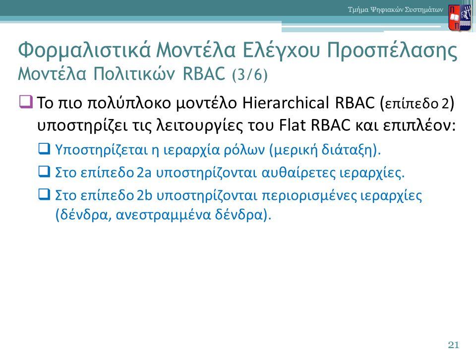 Φορμαλιστικά Μοντέλα Ελέγχου Προσπέλασης Μοντέλα Πολιτικών RBAC (3/6)  Το πιο πολύπλοκο μοντέλο Hierarchical RBAC ( επίπεδο 2 ) υποστηρίζει τις λειτουργίες του Flat RBAC και επιπλέον:  Υποστηρίζεται η ιεραρχία ρόλων (μερική διάταξη).