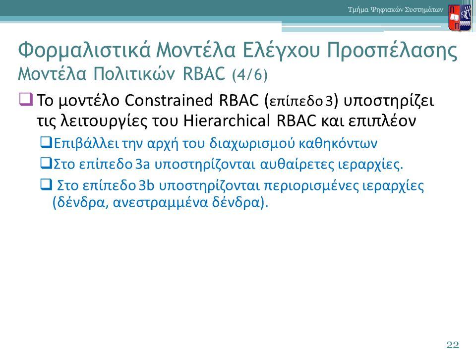 Φορμαλιστικά Μοντέλα Ελέγχου Προσπέλασης Μοντέλα Πολιτικών RBAC (4/6)  Το μοντέλο Constrained RBAC ( επίπεδο 3 ) υποστηρίζει τις λειτουργίες του Hierarchical RBAC και επιπλέον  Επιβάλλει την αρχή του διαχωρισμού καθηκόντων  Στο επίπεδο 3a υποστηρίζονται αυθαίρετες ιεραρχίες.