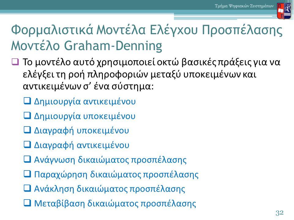 Φορμαλιστικά Μοντέλα Ελέγχου Προσπέλασης Μοντέλο Graham-Denning  Το μοντέλο αυτό χρησιμοποιεί οκτώ βασικές πράξεις για να ελέγξει τη ροή πληροφοριών μεταξύ υποκειμένων και αντικειμένων σ' ένα σύστημα:  Δημιουργία αντικειμένου  Δημιουργία υποκειμένου  Διαγραφή υποκειμένου  Διαγραφή αντικειμένου  Ανάγνωση δικαιώματος προσπέλασης  Παραχώρηση δικαιώματος προσπέλασης  Ανάκληση δικαιώματος προσπέλασης  Μεταβίβαση δικαιώματος προσπέλασης 32 Τμήμα Ψηφιακών Συστημάτων