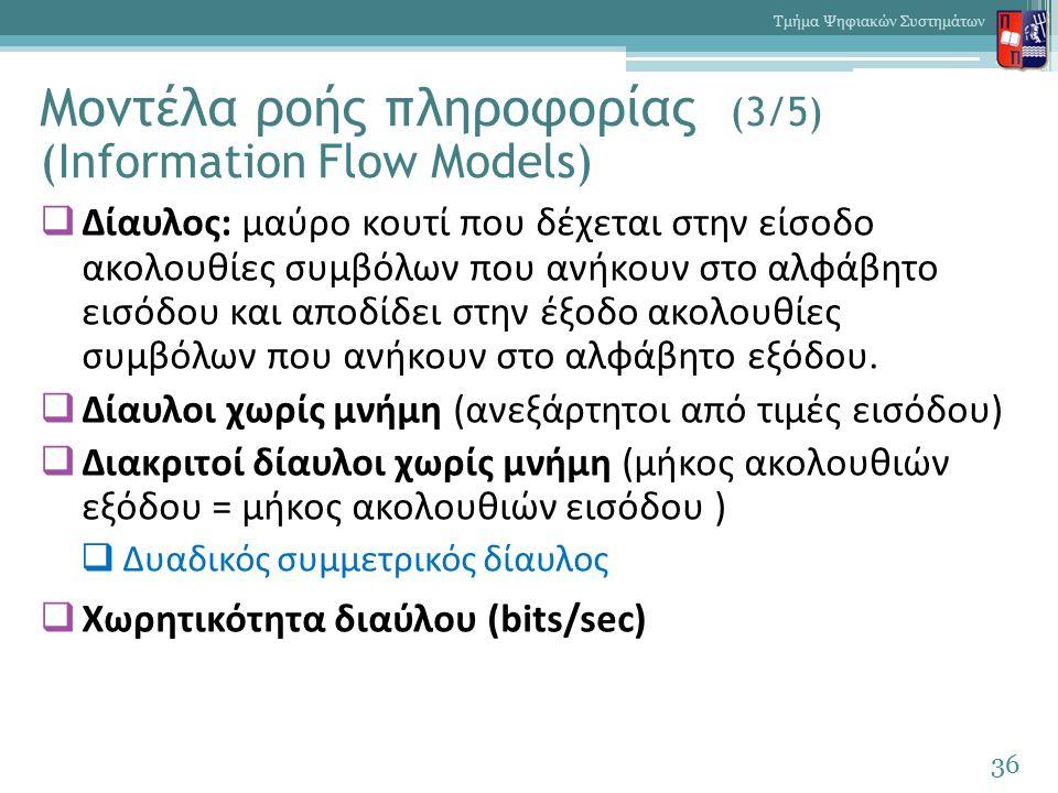 Μοντέλα ροής πληροφορίας (3/5) (Information Flow Models)  Δίαυλος: μαύρο κουτί που δέχεται στην είσοδο ακολουθίες συμβόλων που ανήκουν στο αλφάβητο εισόδου και αποδίδει στην έξοδο ακολουθίες συμβόλων που ανήκουν στο αλφάβητο εξόδου.