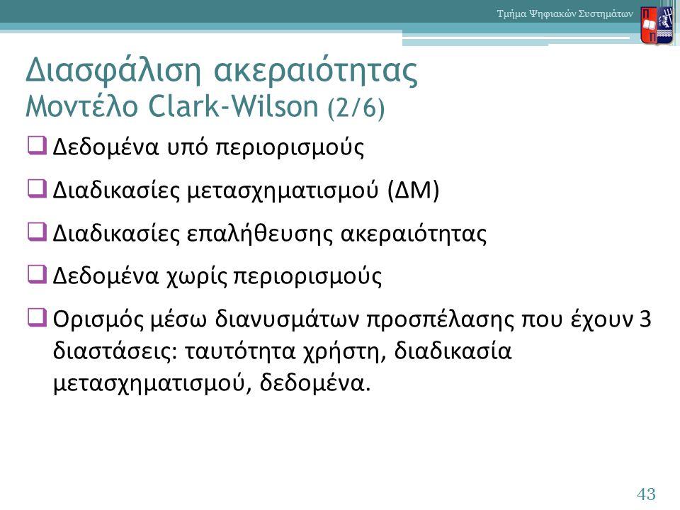Διασφάλιση ακεραιότητας Μοντέλο Clark-Wilson (2/6)  Δεδομένα υπό περιορισμούς  Διαδικασίες μετασχηματισμού (ΔΜ)  Διαδικασίες επαλήθευσης ακεραιότητας  Δεδομένα χωρίς περιορισμούς  Ορισμός μέσω διανυσμάτων προσπέλασης που έχουν 3 διαστάσεις: ταυτότητα χρήστη, διαδικασία μετασχηματισμού, δεδομένα.
