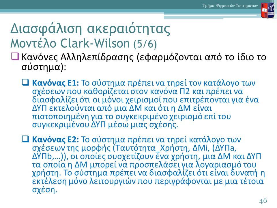 Διασφάλιση ακεραιότητας Μοντέλο Clark-Wilson (5/6)  Κανόνες Αλληλεπίδρασης (εφαρμόζονται από το ίδιο το σύστημα):  Κανόνας Ε1: Το σύστημα πρέπει να τηρεί τον κατάλογο των σχέσεων που καθορίζεται στον κανόνα Π2 και πρέπει να διασφαλίζει ότι οι μόνοι χειρισμοί που επιτρέπονται για ένα ΔΥΠ εκτελούνται από μια ΔΜ και ότι η ΔΜ είναι πιστοποιημένη για το συγκεκριμένο χειρισμό επί του συγκεκριμένου ΔΥΠ μέσω μιας σχέσης.