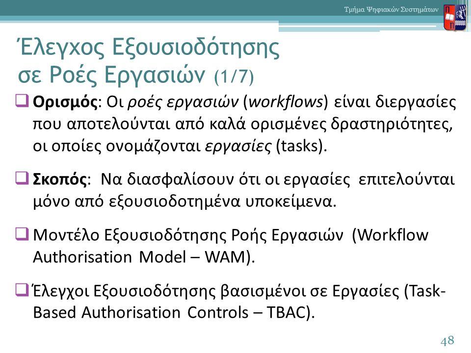 Έλεγχος Εξουσιοδότησης σε Ροές Εργασιών (1/7)  Ορισμός: Οι ροές εργασιών (workflows) είναι διεργασίες που αποτελούνται από καλά ορισμένες δραστηριότητες, οι οποίες ονομάζονται εργασίες (tasks).