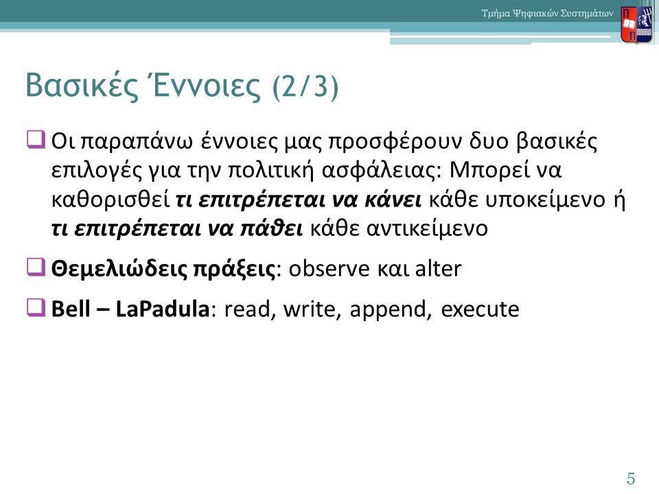 Βασικές Έννοιες (2/3)  Οι παραπάνω έννοιες μας προσφέρουν δυο βασικές επιλογές για την πολιτική ασφάλειας: Μπορεί να καθορισθεί τι επιτρέπεται να κάνει κάθε υποκείμενο ή τι επιτρέπεται να πάθει κάθε αντικείμενο  Θεμελιώδεις πράξεις: observe και alter  Bell – LaPadula: read, write, append, execute 5 Τμήμα Ψηφιακών Συστημάτων
