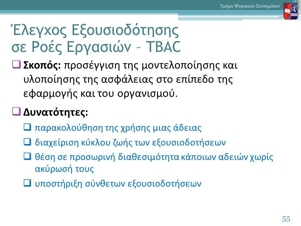 Έλεγχος Εξουσιοδότησης σε Ροές Εργασιών – TBAC  Σκοπός: προσέγγιση της μοντελοποίησης και υλοποίησης της ασφάλειας στο επίπεδο της εφαρμογής και του οργανισμού.
