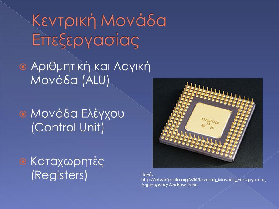 Αριθμητική και Λογική Μονάδα (ALU)  Μονάδα Ελέγχου (Control Unit)  Καταχωρητές (Registers) Πηγή: http://el.wikipedia.org/wiki/Κεντρική_Μονάδα_Επεξ