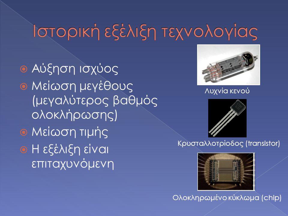  Αύξηση ισχύος  Μείωση μεγέθους (μεγαλύτερος βαθμός ολοκλήρωσης)  Μείωση τιμής  Η εξέλιξη είναι επιταχυνόμενη Λυχνία κενού Κρυσταλλοτρίοδος (transistor) Ολοκληρωμένο κύκλωμα (chip)