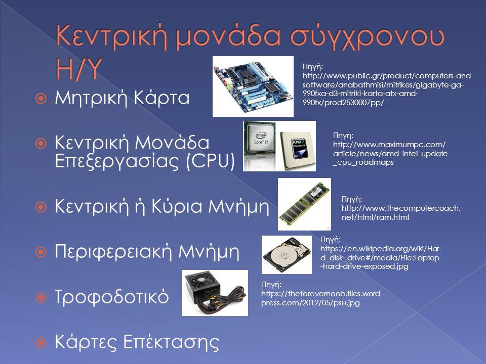  Μητρική Κάρτα  Κεντρική Μονάδα Επεξεργασίας (CPU)  Κεντρική ή Κύρια Μνήμη  Περιφερειακή Μνήμη  Τροφοδοτικό  Κάρτες Επέκτασης Πηγή: http://www.m