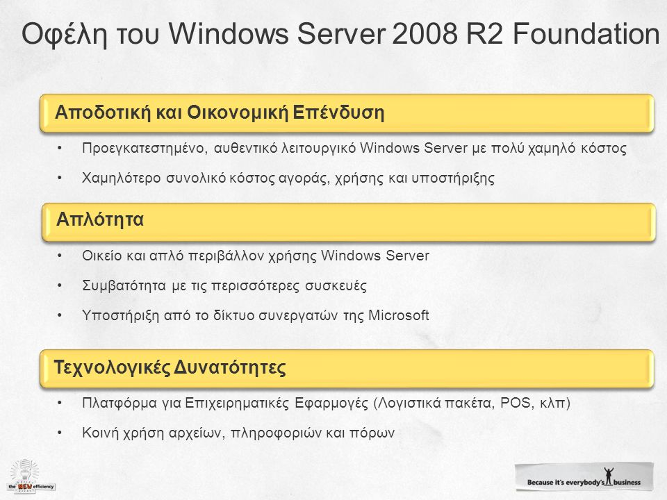 Αποδοτική και Οικονομική Επένδυση Προεγκατεστημένο, αυθεντικό λειτουργικό Windows Server με πολύ χαμηλό κόστος Χαμηλότερο συνολικό κόστος αγοράς, χρήσης και υποστήριξης Απλότητα Οικείο και απλό περιβάλλον χρήσης Windows Server Συμβατότητα με τις περισσότερες συσκευές Υποστήριξη από το δίκτυο συνεργατών της Microsoft Τεχνολογικές Δυνατότητες Πλατφόρμα για Επιχειρηματικές Εφαρμογές (Λογιστικά πακέτα, POS, κλπ) Κοινή χρήση αρχείων, πληροφοριών και πόρων