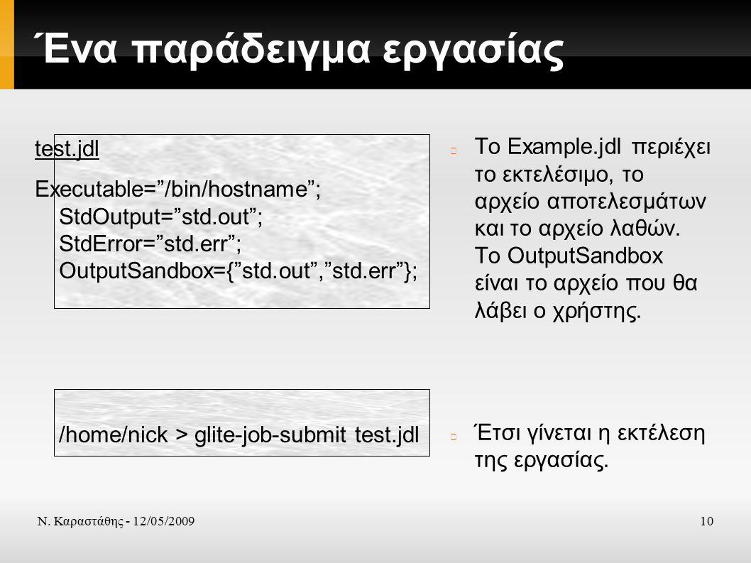 Ν. Καραστάθης - 12/05/200910 Ένα παράδειγμα εργασίας To Example.jdl περιέχει το εκτελέσιμο, το αρχείο αποτελεσμάτων και το αρχείο λαθών. Το OutputSand