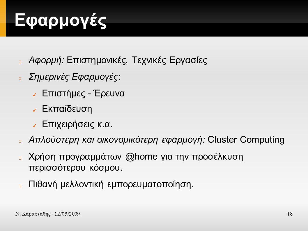 Ν. Καραστάθης - 12/05/200918 Εφαρμογές Αφορμή: Επιστημονικές, Τεχνικές Εργασίες Σημερινές Εφαρμογές: ✔ Επιστήμες - Έρευνα ✔ Εκπαίδευση ✔ Επιχειρήσεις