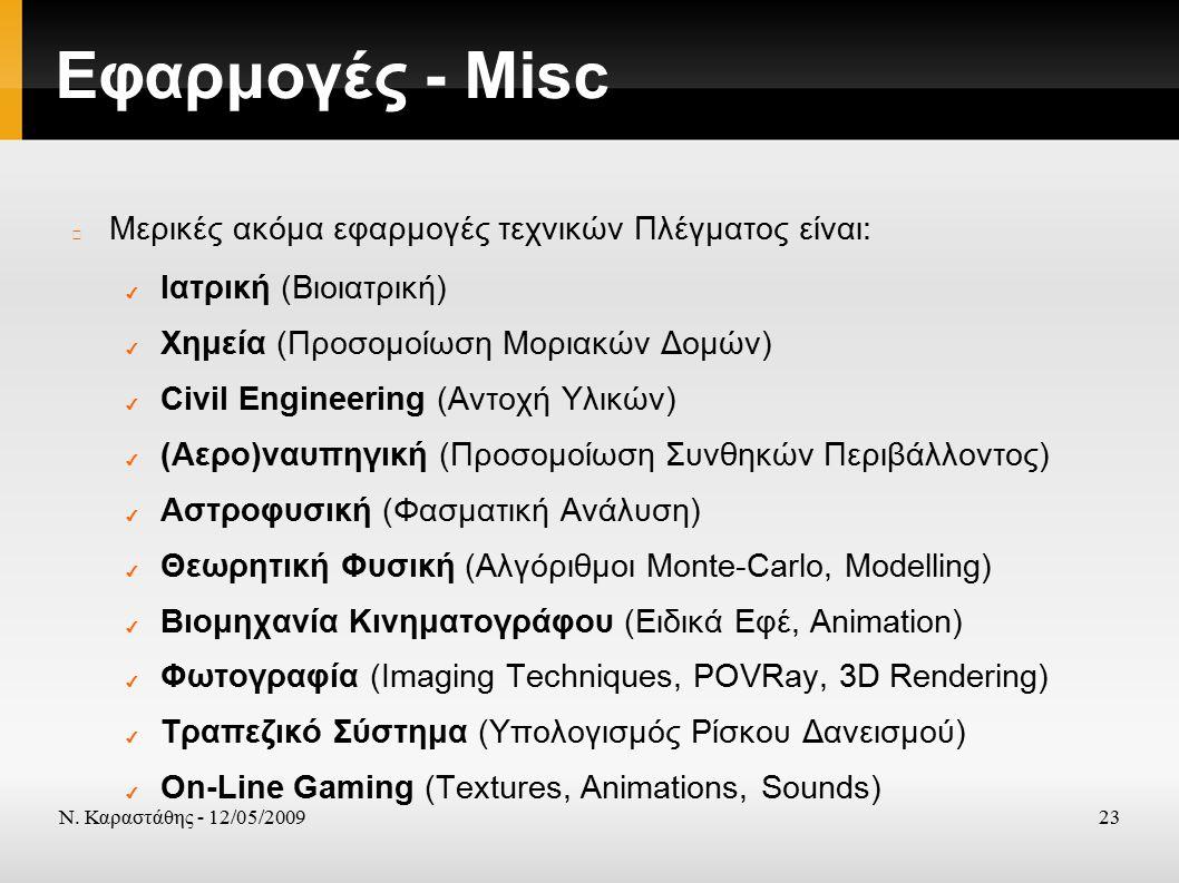 Ν. Καραστάθης - 12/05/200923 Εφαρμογές - Misc Μερικές ακόμα εφαρμογές τεχνικών Πλέγματος είναι: ✔ Ιατρική (Βιοιατρική) ✔ Χημεία (Προσομοίωση Μοριακών