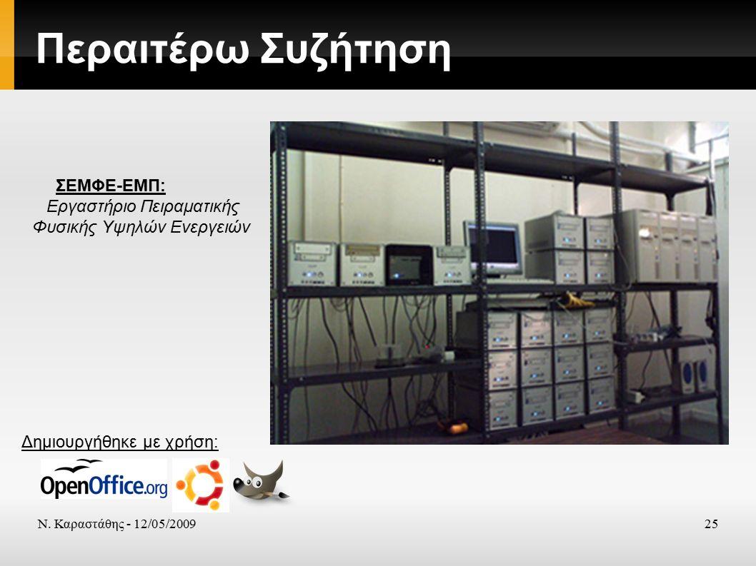 Ν. Καραστάθης - 12/05/200925 Περαιτέρω Συζήτηση Δημιουργήθηκε με χρήση: ΣΕΜΦΕ-ΕΜΠ: Εργαστήριο Πειραματικής Φυσικής Υψηλών Ενεργειών