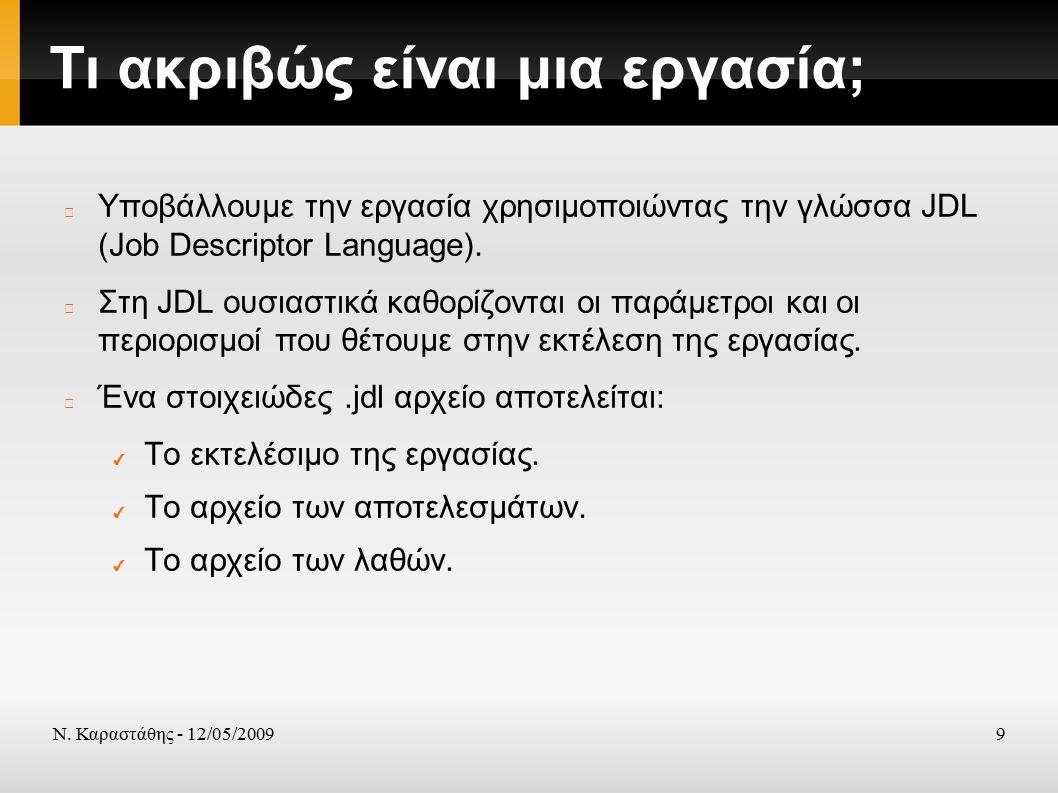 Ν. Καραστάθης - 12/05/20099 Τι ακριβώς είναι μια εργασία; Υποβάλλουμε την εργασία χρησιμοποιώντας την γλώσσα JDL (Job Descriptor Language). Στη JDL ου