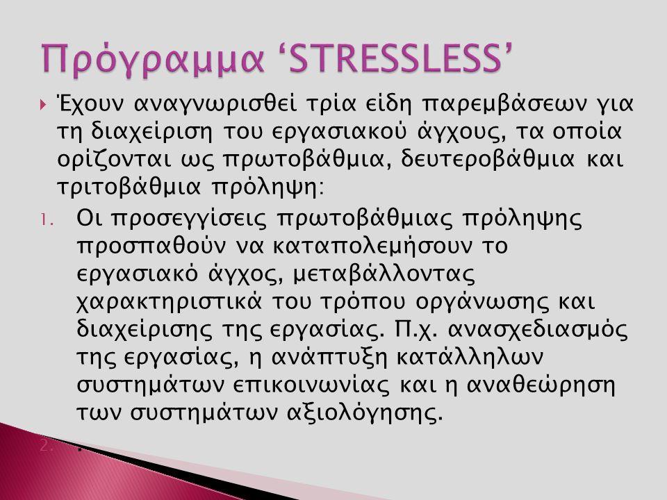  Έχουν αναγνωρισθεί τρία είδη παρεμβάσεων για τη διαχείριση του εργασιακού άγχους, τα οποία ορίζονται ως πρωτοβάθμια, δευτεροβάθμια και τριτοβάθμια πρόληψη: 1.